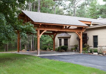 90 Degree Carport Roof Attached To House Houston Timber Frame Traditional Garage And Shed Houston Texas T Carport Designs Carport Garage Carport Plans