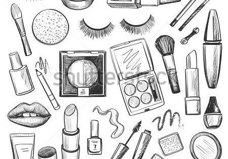 Hand Drawn Beauty And Makeup Icons Set With Mascara Lipstick Creams Nail Polish Powder Eye Sh Maquillaje Iconico Cuadernos De Bocetos Dibujos Garabateados