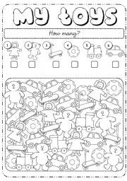 English Worksheet How Many Toys Worksheets For Kids Teaching Toy English Lessons For Kids My toys worksheet for kindergarten