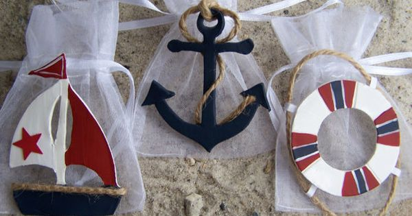 Nautical baby shower theme Favor bags Red, White and Blue 10 pieces