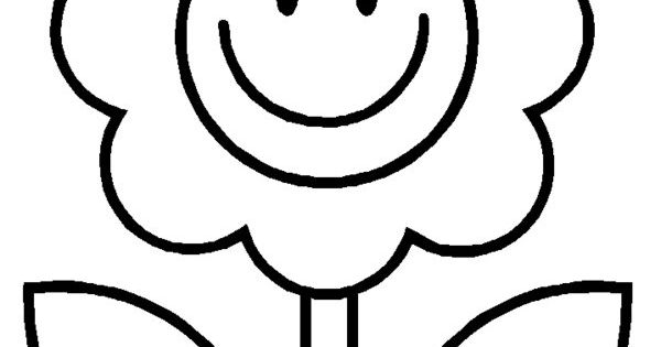 Cartoon Happy Flower Coloring Pages 2 year old stuff