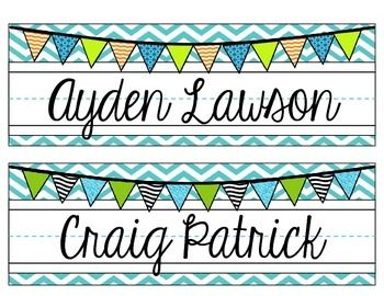 Editable Chevron Name Plates Pink Teal Gray Green Chevron