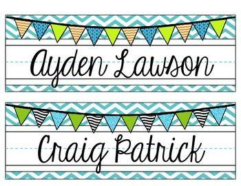 Editable Chevron Name Plates Pink Teal Gray Green Chevron Name Plates Teacher Name Plates Name Plate