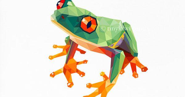 Kikker geometrische druk originele illustratie animal for Minimal art kunst
