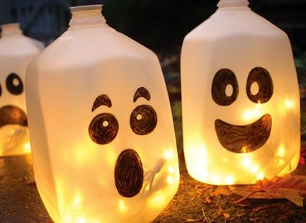 Milk Jug Ghosts - make them with glow sticks instead of Christmas