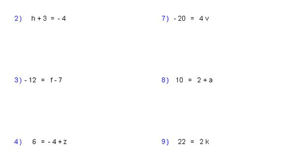 math worksheet : one step equations worksheets containing integers  math  : Math Expression Worksheets