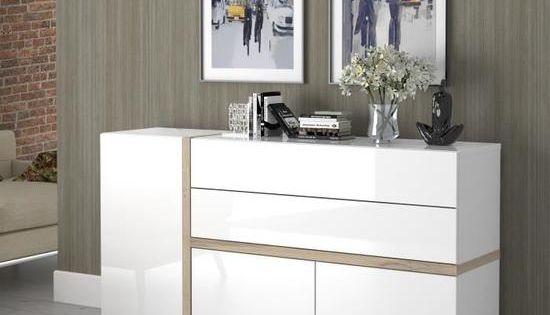 Bianko Buffet Bas Contemporain Blanc Et Decor Chene L 167 7 Cm Buffet Bas Buffet Blanc Et Bois Decoration Meuble