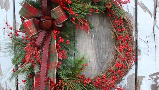 Winter Wreath, Red berries, Pine, Plaid, Metal Ribbon, Jingle Bells.