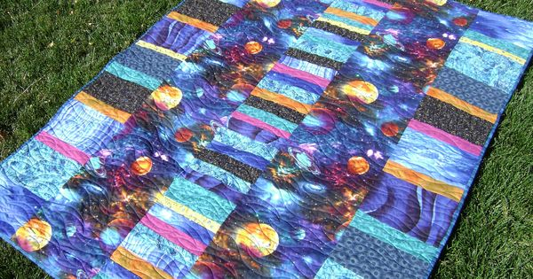 Outer space quilt in blues turquoise black orange and for Outer space quilt patterns