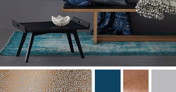 Copper Grey And Blue Color Palette Branding