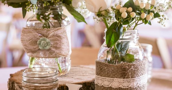 Fun Wedding Ideas Pinterest: Rustic Wooden Chargers With Simple Centerpieces