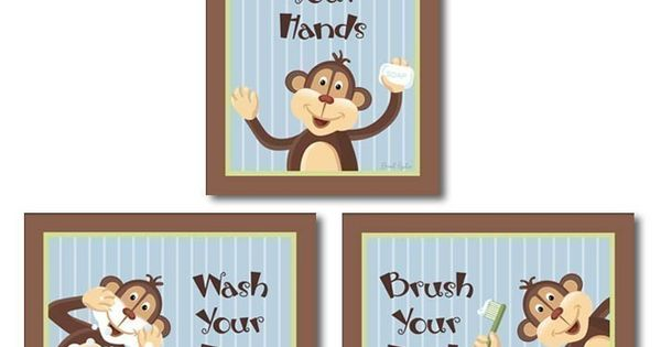 Jungle monkey set of 3 bathroom prints wash your hands for Monkey bathroom ideas