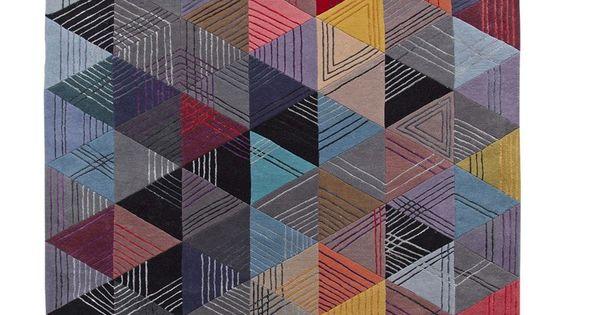 Black Losange By Rochebobois Handmade Rectangular Wool Rug Design Corinne Hellein Id Es