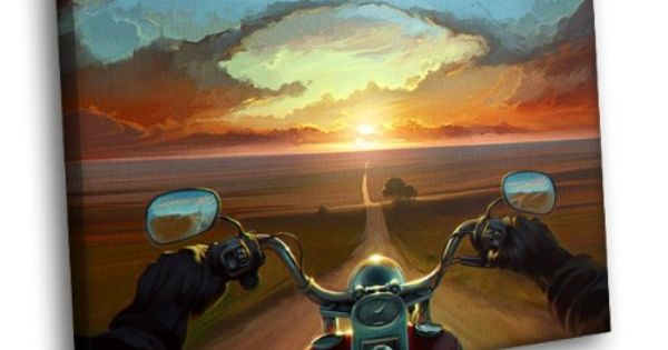 H5J1855 Road POV Motorcycle Sunset Painting Art 20×16 ...