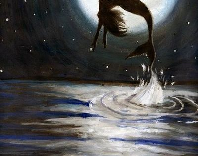 mermaid jumping for joy love you to the moon