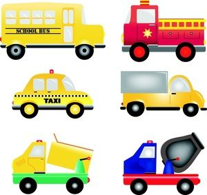 Vehicles Clipart Image Cartoon Trucks Busses And Cars Work