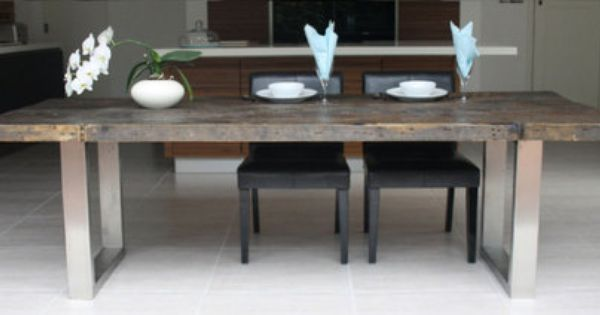Details about large contemporary reclaimed wood and steel for Long contemporary dining tables