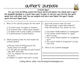 Author S Purpose Persuasive Text Freebie Persuasive Text Authors Purpose Author S Purpose Worksheet