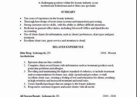 Aesthetician Resume, Templates and Cover Letters plus an Indeed Job - reservation forms in pdf
