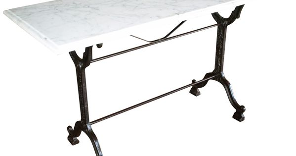 bistro console table with cast iron base and marble