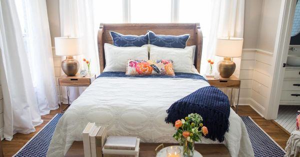Navy And Gold Bedside Lamps: White Curtains, Bed, Navy Accents, Small Master Bedroom