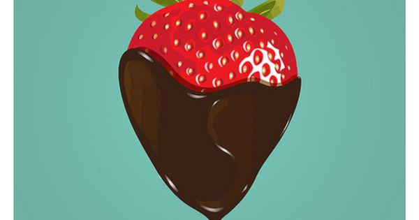Chocolate poster strawberry print Kitchen art - All you need is chocolate