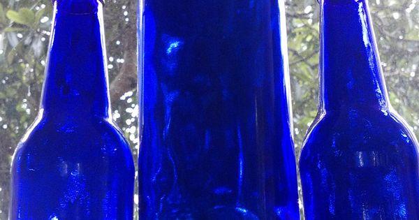 3 Cobalt Blue Glass Bottles Man Cave Bar Decor Home