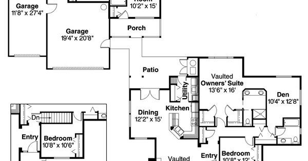 Main house detached from 3 car garage small in law guest for House plans with detached guest suite