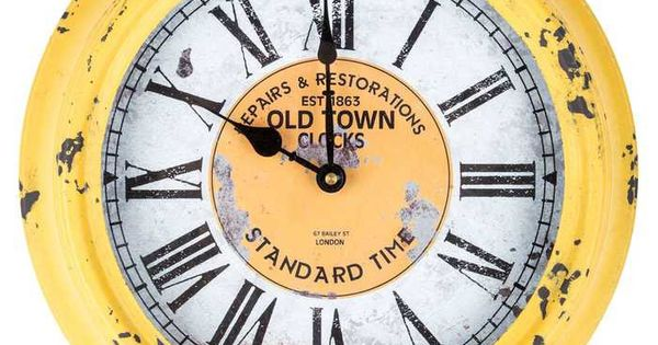Antique Yellow Round Old Town Metal Wall Clock Best
