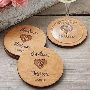 Custom Bridal Shower Drink Coasters Wood Coasters Wedding Favor Gifts Bridal Shower Favors Personalized Wedding Favors Monogram Favors