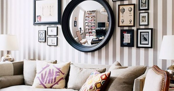Gallery Wall Inspiration - mix of mirrors and art -- could put