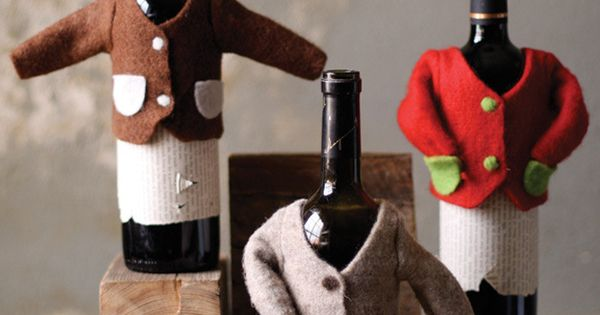 Cute little wine bottle sweaters. Gift idea for host or wine lover.