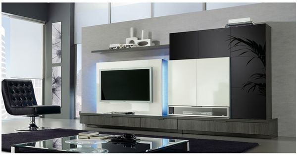 Salones mueble sal n con cristal lacado y m dulo tv plana - Fabrica muebles barcelona ...