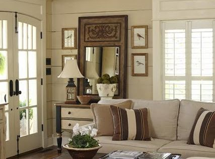 country farmhouse livingroom | ceiling and shelving gives this living room a distinctly farmhouse ...WALL COLOR!