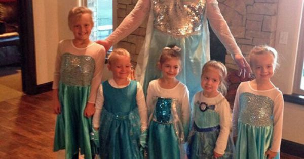 Father of the Year! All his daughters wanted to go as Elsa
