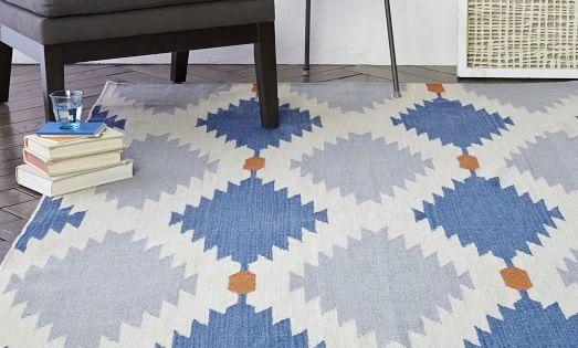 Phoenix wool dhurrie rug regal blue west elm 3333 for Regal flooring arizona
