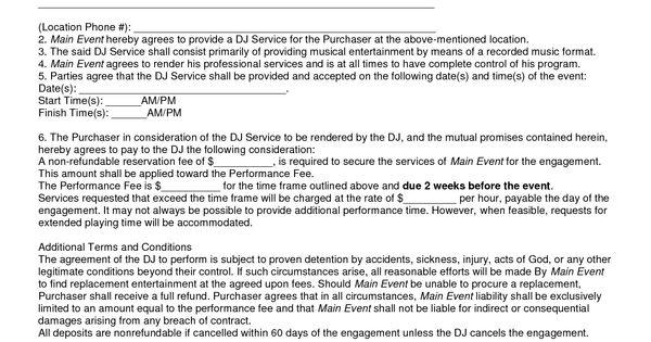 Main Event Mobile DJ Service Entertainment Contract