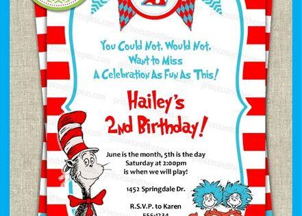 Wording on a Dr. Seuss birthday invitation.