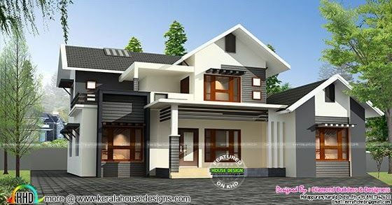Sloping Roof Mix 1500 Sq Ft Home Kerala House Design House Designs Exterior Modern House Design