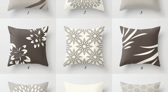 Brown Gray Throw Pillow Covers White Brown Pillow Case Neutral Pillows Cushion Covers Floral Geometric Modern Mix Match Pillows For Sofa Beige Pillows Brown Living Room Decor Brown Pillow Covers