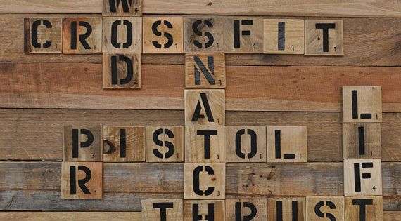Sports Collage Wall Decor : Crossfit enthusiast pallet art word collage sports room