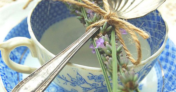 Lavender in a vintage teacup with silver spoon.