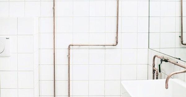 9 ba os industriales llenos de estilo white tiles pipes - Banos industriales ...