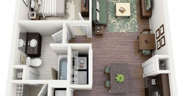 50 plans en 3d d appartement avec 1 chambres mesas for 3d appartement
