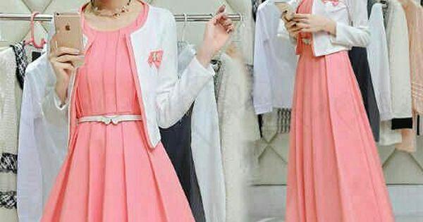 Setelan Baju Maxi Long Dress Peach Baju Trend Pria