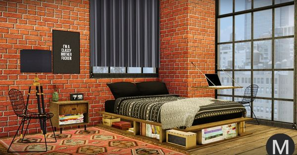 MAXIMSu0027S   3t4 MS91 Industrial Rustic Bedroom Rustic Bedframe... | Sims 4  Updates | Pinterest | Bedroom Rustic, Free Sims And Sims