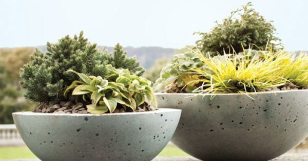 diy concrete containers from Martha Stewart-- concept is nesting two containers together