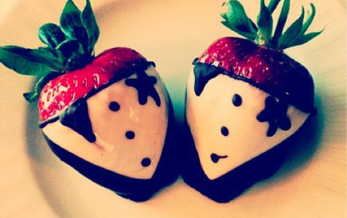 Chocolate covered strawberries in suits, cute idea!