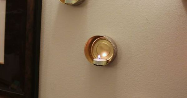 Wall Hung Tea Light Holders : Wall-Mounted Tin Can Tea Lights Wall mounted candle holders, Wall mount and Walls