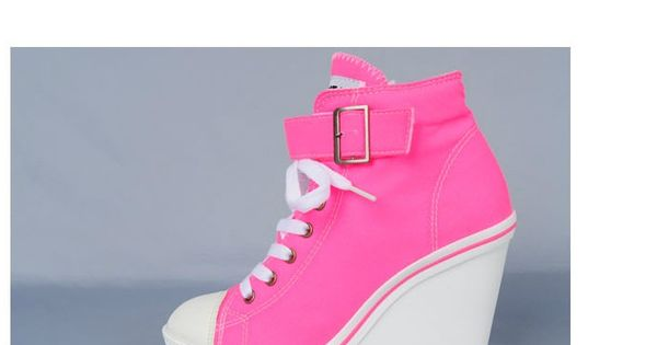 Women Canvas Wedge High Heels Sneakers Tennis Shoes Boots Neon Pink US5.5~7.5